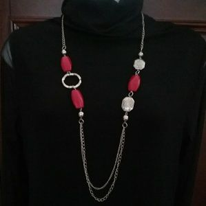 NWT dark red necklace and earring set.